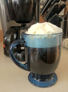 Coffee with whipped cream and Homemade chocolate sauce